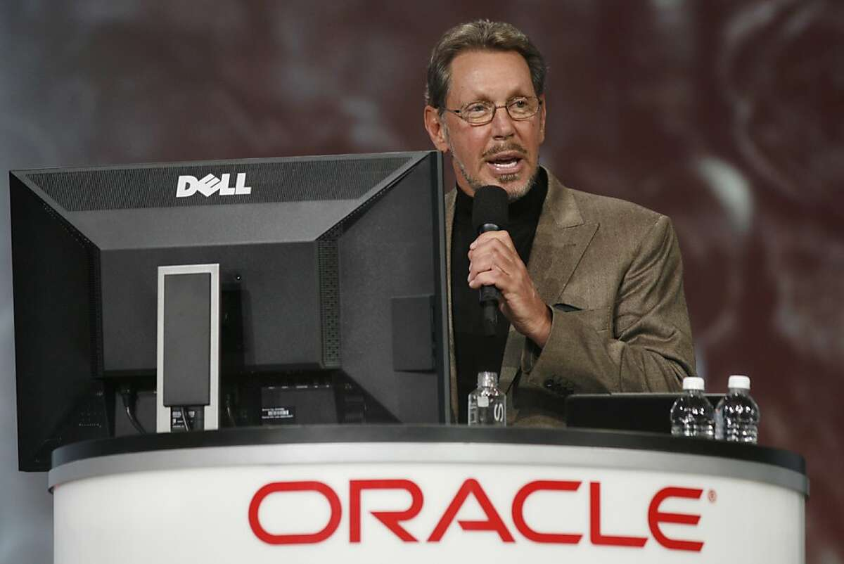 (FILES)Oracle CEO Larry Ellison demonstrates Oracle's social networking site during a keynote at the Moscone Center in San Francisco during the Oracle OpenWorld 2011 in this October 5, 2011 file photo in California. Software and systems giant Oracle was fined $2 million August 16, 2012 to resolve charges that its India subsidiary kept a multi-million dollar off-books slush fund. The Securities and Exchange Commission said it had filed charges in San Francisco District Court accusing Oracle of violating the US Foreign Corrupt Practices Act by not preventing the subsidiary from setting up the $2.2 million fund. AFP PHOTO / Kimihiro HOSHINO / FILESKIMIHIRO HOSHINO/AFP/GettyImages