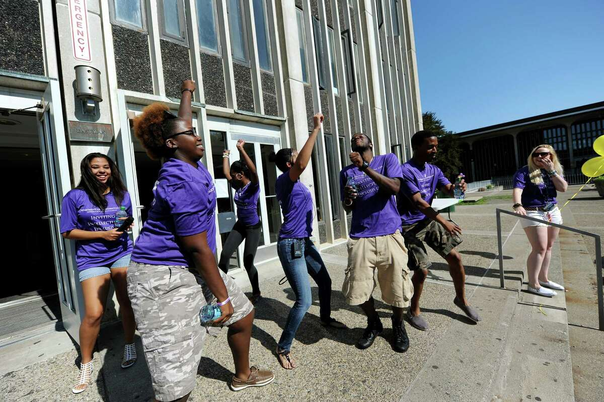 Resident assistants dance to the music at Eastman Tower on freshmen moving-in day on Wednesday, Aug. 22, 2012, University at Albany in Albany, N.Y. (Cindy Schultz / Times Union)