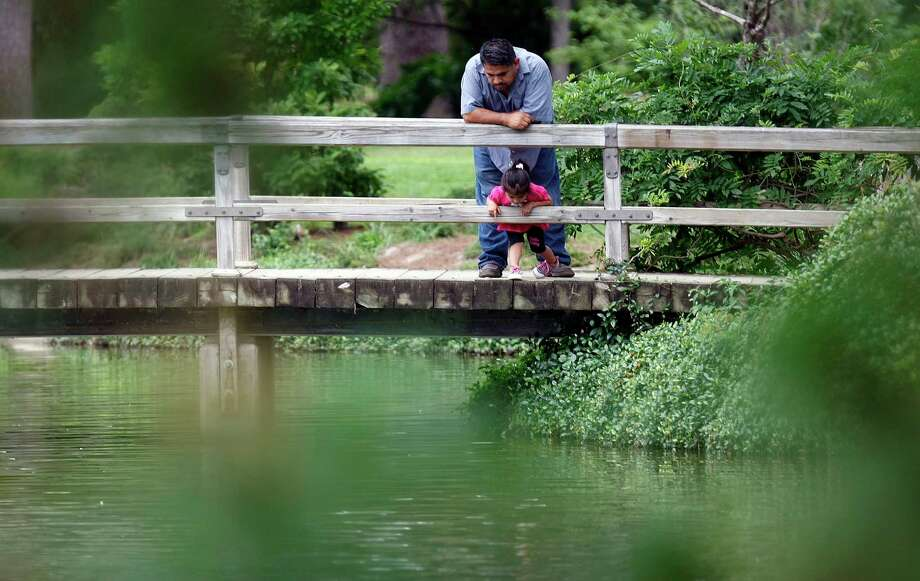 """She likes looking at the fish,"" David Ariza about his daughter Veronica, 2, as they spent the afternoon in the Japanese Garden in Hermann Park Thursday, May 3, 2012, in Houston. ( Johnny Hanson / Houston Chronicle ) Photo: Johnny Hanson / © 2012  Houston Chronicle"