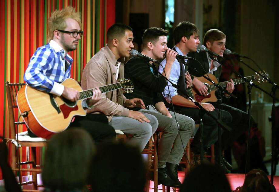 """Members of Nickelodeon's boy band Big Time Rush performed during the Kids' """"State Dinner"""" luncheon event in the East Room of the White House Monday. Photo: Alex Wong / 2012 Getty Images"""