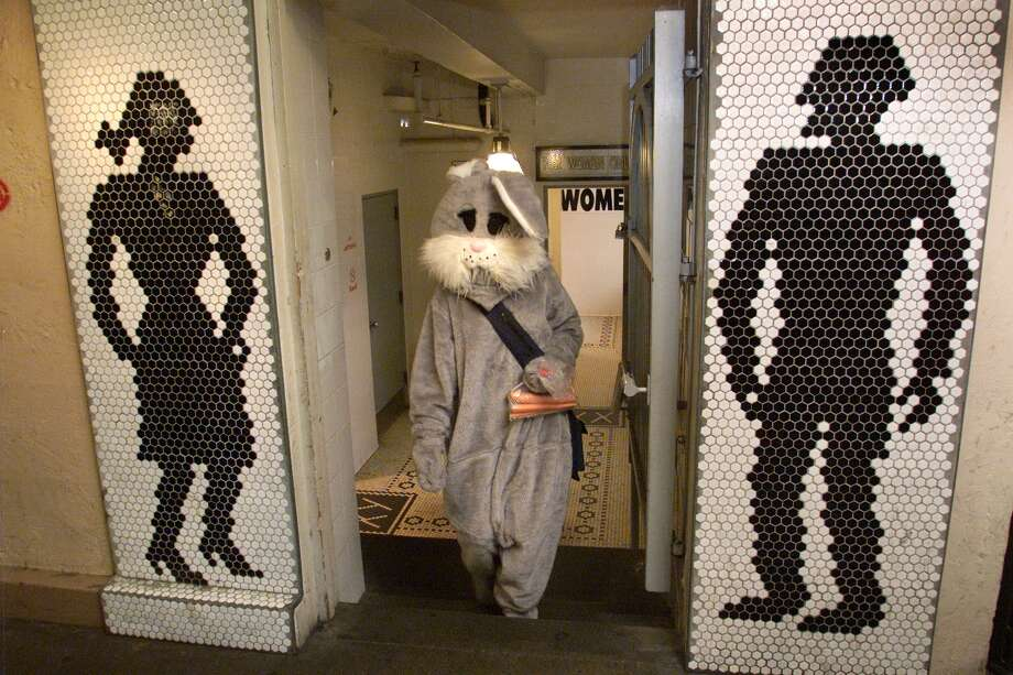 It's true, Pike Place Market toilets see a lot of visitors -- even visitors in bunny costumes. Photo: Archive Photo
