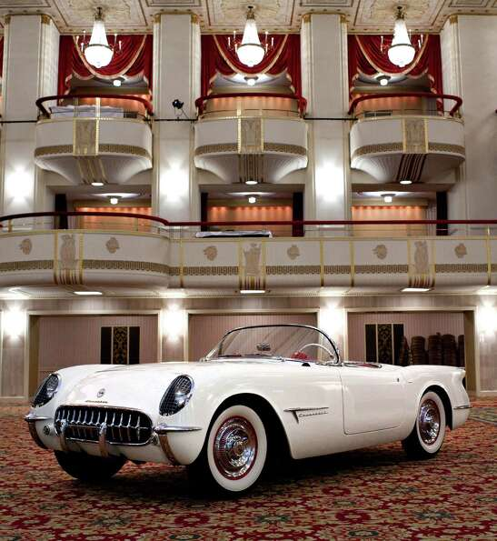 The original 1953 Chevrolet Corvette show car on display in the Waldorf Astoria ballroom Saturday, M
