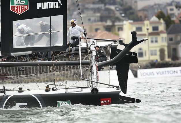 Team Oracle USA Coutts practices on the San Francisco Bay before the start of the Match Racing Qualifiers for the America's Cup World Series on Wednesday, August 22, 2012 in San Francisco, Calif. Team Oracle USA Coutts did not race on Wednesday. Team Oracle USA Coutts did not race on Wednesday. Photo: Lea Suzuki, The Chronicle