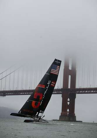 Team Oracle USA Coutts sails next to the Golden Gate Bridge before the start of the Match Racing Qualifiers  for the America's Cup World Series on Wednesday, August 22, 2012 in San Francisco, Calif. Team Oracle USA Coutts did not race on Wednesday. Photo: Lea Suzuki, The Chronicle