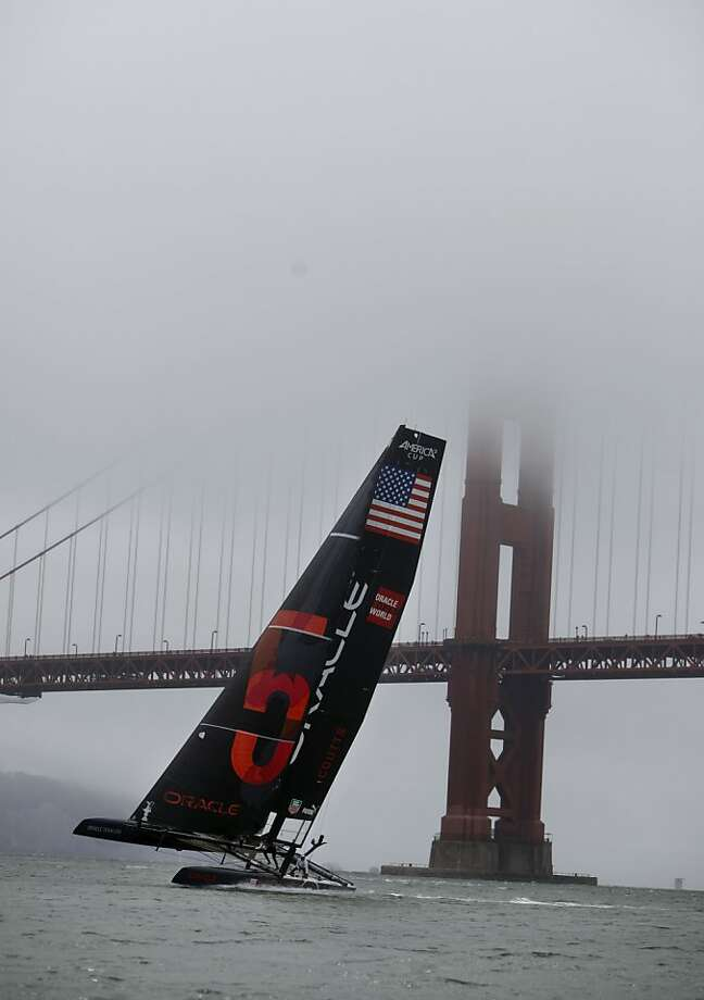Team Oracle USA's Russell Coutts sails next to the Golden Gate Bridge on Wednesday. Photo: Lea Suzuki, The Chronicle