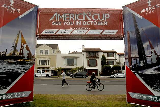 America's Cup Village reaches to Marina Blvd. at the 2012 America's Cup World Series, in San Francisco, Calif., on Wednesday August 23, 2012. Photo: Michael Macor, The Chronicle