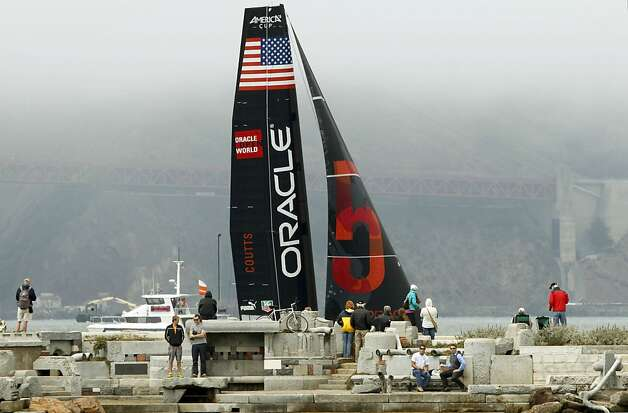Oracle Team USA Coutts passes by the Wave Organ near the Golden Gate Yacht Club during the America's Cup World Series. Photo: Michael Macor, The Chronicle