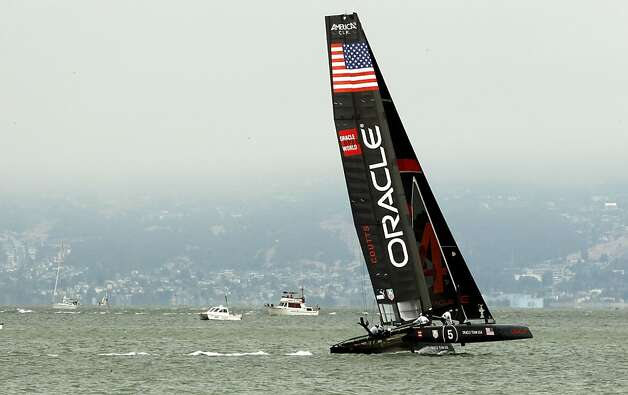 Oracle Team USA Coutts take a practice run during the match racing qualifier at the 2012 America's Cup World Series, in San Francisco, Calif., on Wednesday August 23, 2012. Photo: Michael Macor, The Chronicle