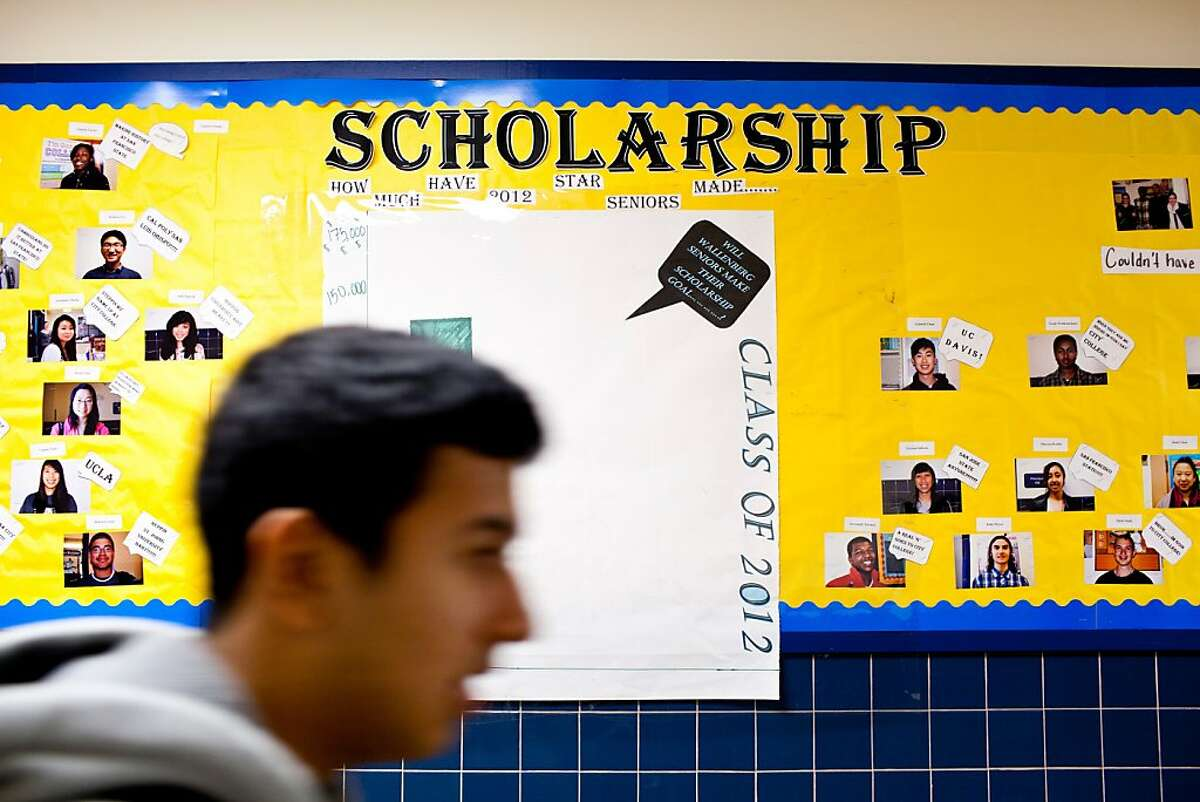 A bulletin board documenting the class of 2012's success in the hallways as students rush to their next class at Raoul Wallenberg Traditional High School in San Francisco, Calif., Wednesday, August 22, 2012.
