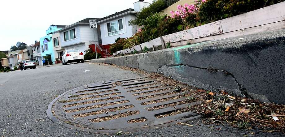 San Francisco's O'Shaughnessy Boulevard is a winding, twisty downhill slope that as multiple storm drains are clogged with repaving materials along with live plants and debris. With the rainy season approaching many residents are concerned about the roadway getting flooded. Photo: Lance Iversen, The Chronicle