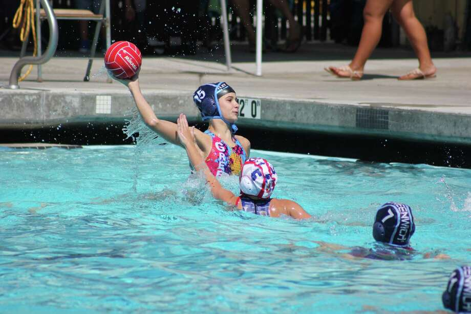 Borden Wahl takes a shot during one of the YMCA Greenwich Aquatics 12-under teamâÄôs game at the Junior Olympics in Palo, Alto, Calif. Wahl played a pivotal role on offense for  the 12-under team, which placed eighth out of 27 teams. Photo: Contributed Photo