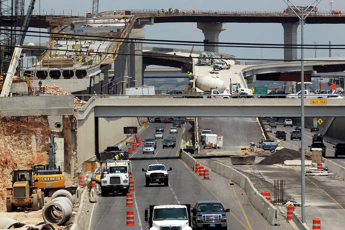 Work continues on all levels of traffic lanes around the construction area of 281 and 1604 on the north side of San Antonio on August 22, 2012.