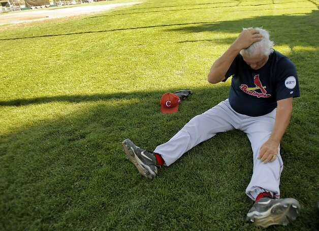 "Bill ""Spaceman"" Lee rests after pitching batting practice at Albert Park in San Rafael, Calif., on Wednesday, August 22, 2012. Lee hopes to become the oldest man to win a professional baseball game when he takes the mound on Thursday for the San Rafael Pacifics. Photo: Carlos Avila Gonzalez, The Chronicle"