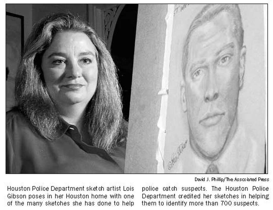 This photo, which ran in The Houston Chronicle in 2004, shows Lois Gibson with one of her many sketches. Photo: The Houston Chronicle