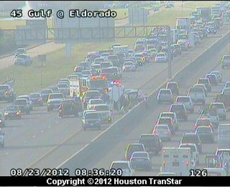 A 5-car pileup snarled traffic on the Gulf Freeway near Eldorado during rush-hour Thursday morning. Photo: Houston Transtar