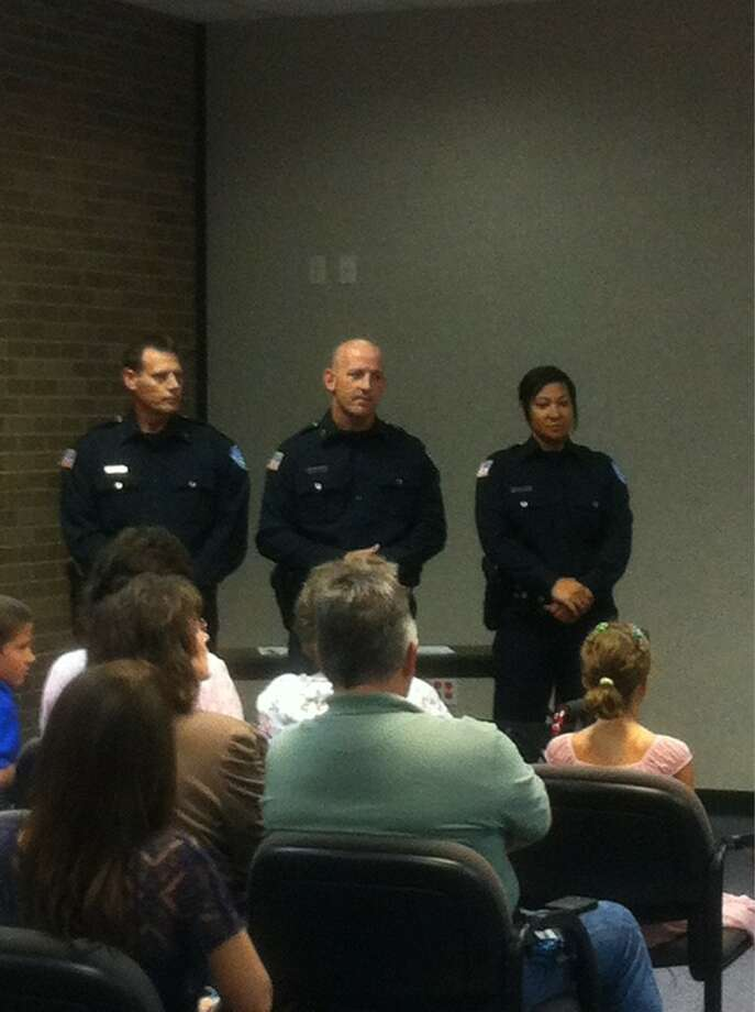 Three new Beaumont police officers were sworn in Thursday morning. Ioanna Makris/The Enterprise. For more photos from the ceremony, visit www.Twitter.com/IMakris.