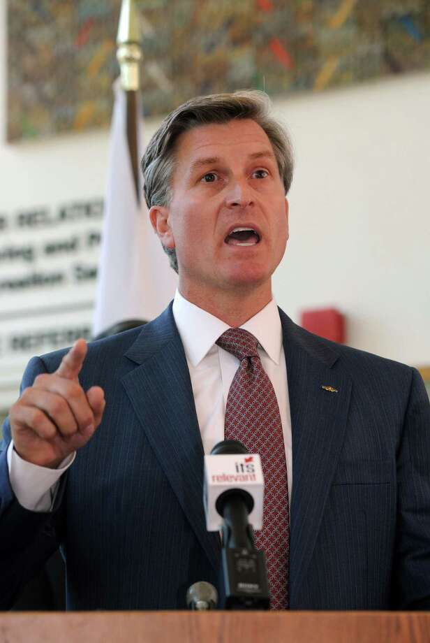 4th Congressional District candidate Steve Obsitnik, speaking in Stamford last month. Photo: Cathy Zuraw / Connecticut Post