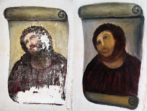 A fresco of Christ before (left) and after an elderly amateur artist Celia Gimenez, 80, took it upon herself to restore it in the town of Borja, Spain. Photo: Centro De Estudios Borjanos, Associated Press