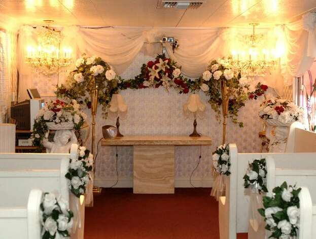 Pictured is the interior of the Little White Wedding Chapel where pop-princess Britney Spears got married. The Las Vegas wedding chapel is famous around the world and most recognizable for its drive-thru wedding services. (Denise Truscello / WireImage)
