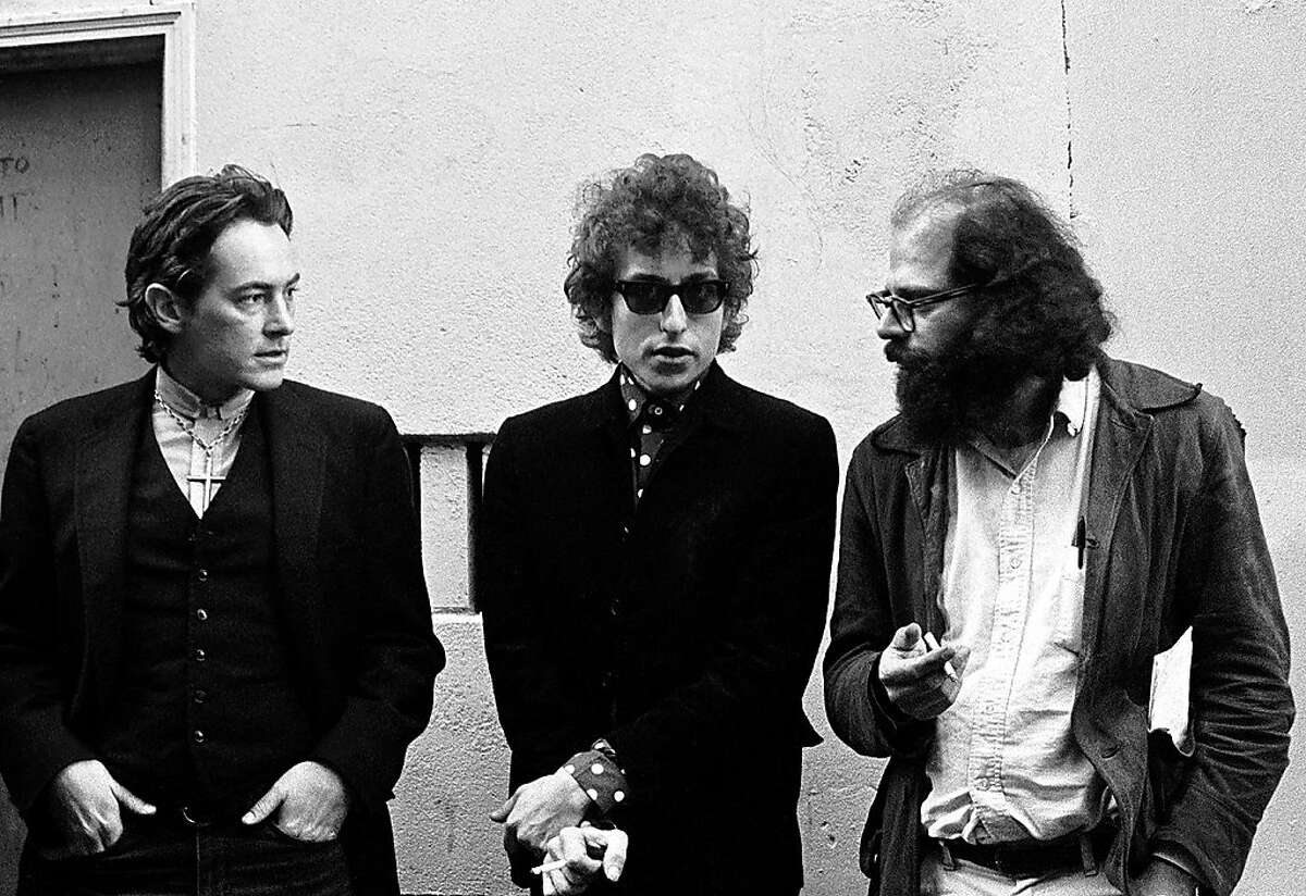 Michael McClure, Bob Dylan and Allen Ginsberg in the alley behind City Lights Books, Dec. 1965