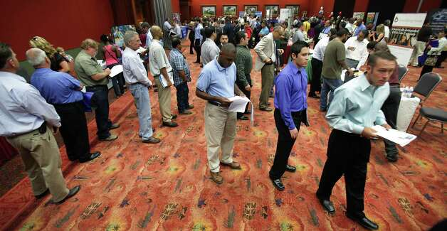 Lines of people looking for work snake around tables at the Job Fair at the Texas Economic Developement & Energy Summit held at the Henry B. Gonzalez Convention Center, Thursday, August 23, 2012. Photo: BOB OWEN, San Antonio Express-News / © 2012 San Antonio Express-News