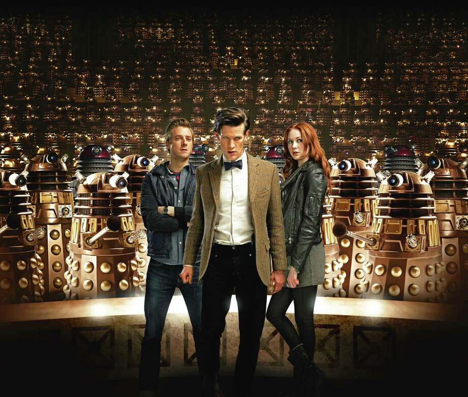 "The Doctor (Matt Smith), flanked by Rory (Arthur Darvill) and Amy Pond (Karen Gillan) battle the Daleks and lots of other creepy adversaries when ""Doctor Who"" returns for five blockbuster episodes. Photo: BBC"