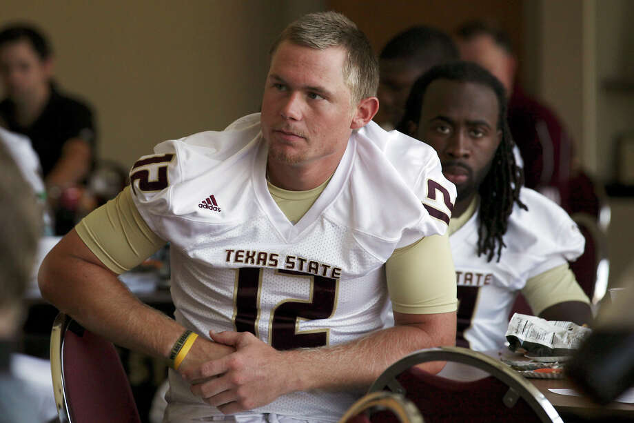 Texas State QB Tyler Arndt (left) has stood out since the spring, but 2011 starter Shaun Rutherford (right) hasn't been playing like anyone's backup. Photo: Jerry Lara, San Antonio Express-News / © 2012 San Antonio Express-News