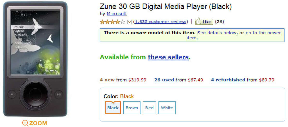 Two Zune 30 GB digital media players on Amazon.