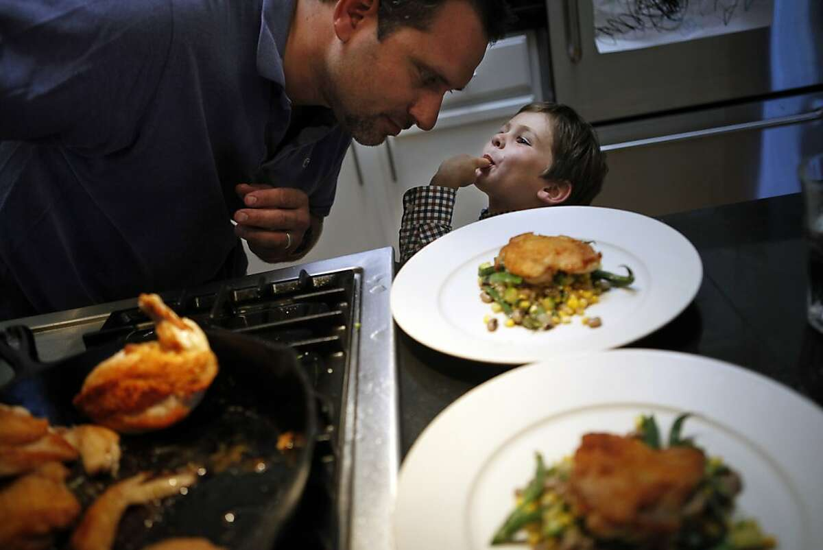 Will Gioia with his son Julian in their kitchen in San Francisco, Calif. on Monday, July 30, 2012.