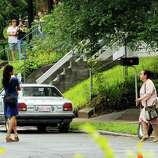 """Actors Eva Mendes,left, on the set of """"The Place Beyond The Pines"""" on Watt Street in Schenectady, NY Tuesday Aug. 9,2011.( Michael P. Farrell/Times Union)"""