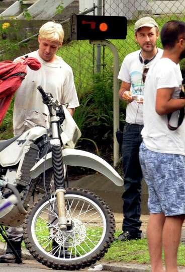 Actor Ryan Gosling and Director: Derek Cianfranceon the set of