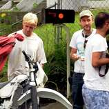 """Actor Ryan Gosling and Director: Derek Cianfranceon the set of """"The Place Beyond The Pines"""" on Watt Street in Schenectady, NY Tuesday Aug. 9,2011.( Michael P. Farrell/Times Union)"""