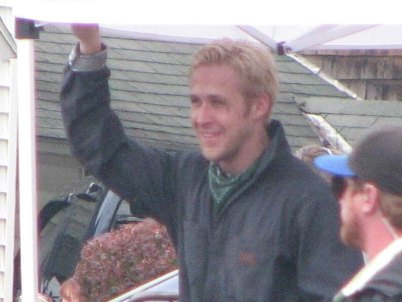 Ryan Gosling during a break in filming of