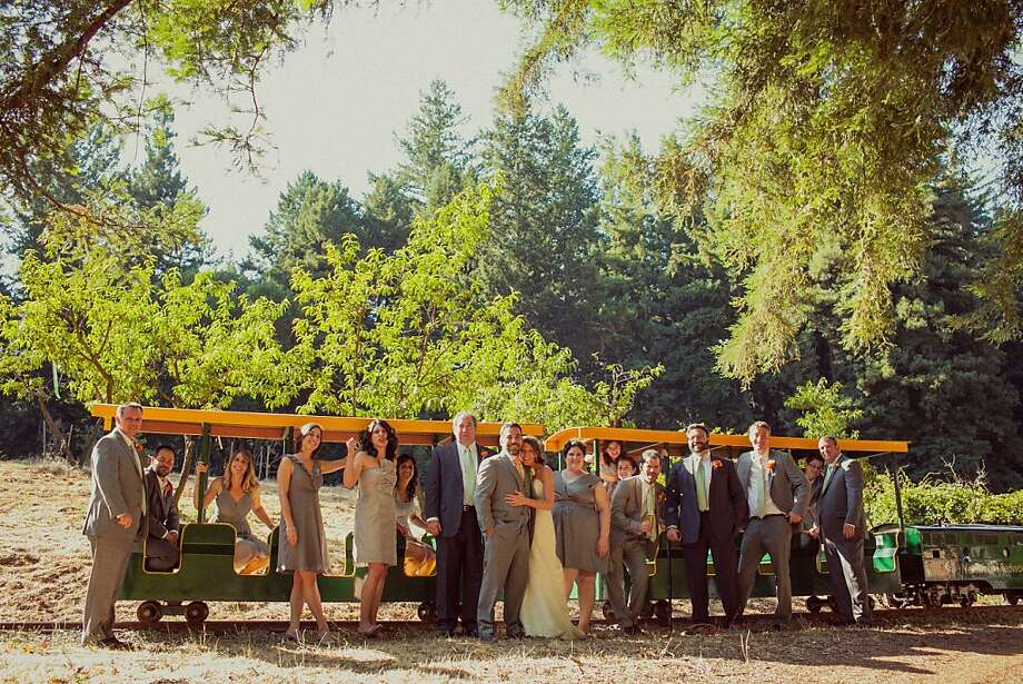 After the ceremony, the couple took the train to the outdoor reception. Photo: Photography By Paco And Betty