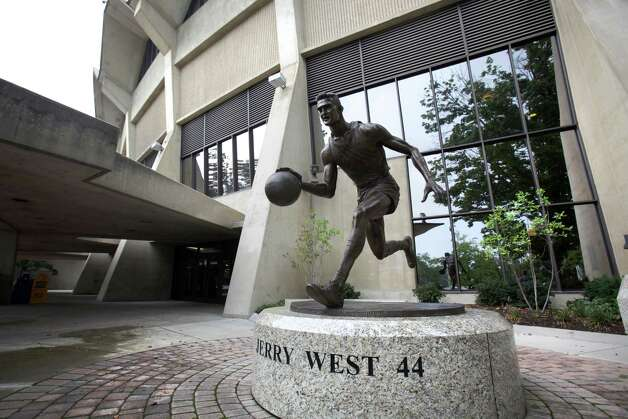 A statue of NBA famed Jerry West in front of West Virginia University Mountaineers Coliseum in Morgantown, West Virginia.  Thursday, Aug. 9, 2012. Photo: Bob Owen, Express-News / © 2012 San Antonio Express-News