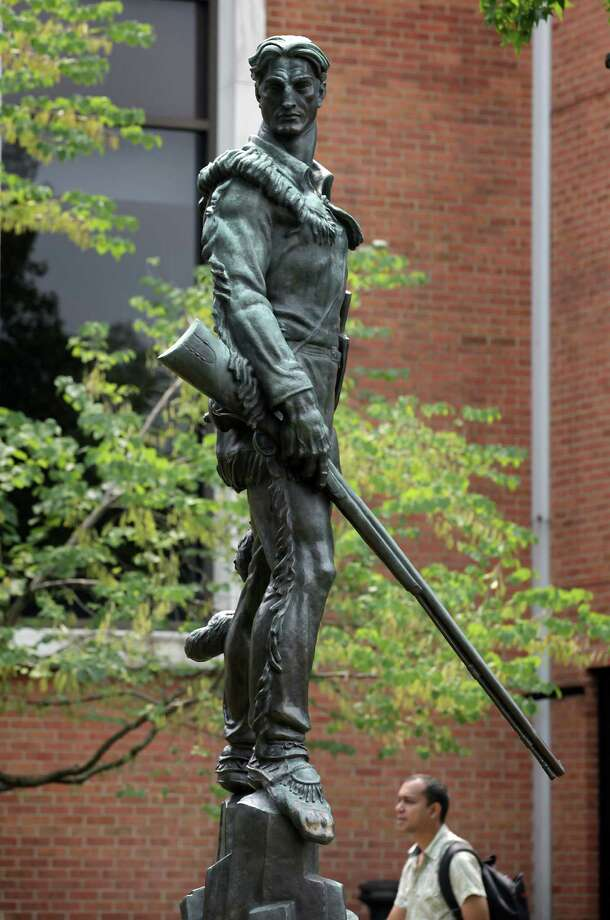 The statue of the WVU Mountaineer is in front of the student center in Morgantown, West Virginia. August 9, 2012. Photo: Bob Owen, Express-News / © 2012 San Antonio Express-News