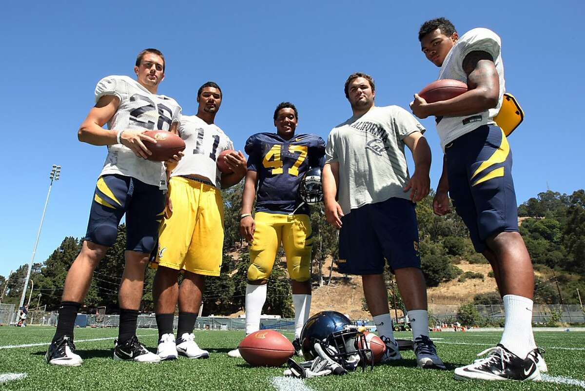 Cal football players from left to right, Jackson Bouza, Richard Rodgers, Hardy Nickerson, Dominic Galas, and Bryce Treggs, stand on the Whitter Rugby Field near the Cal stadium in Berkeley after practice Saturday, August 11, 2012. All five teammates have fathers who once played for Cal.