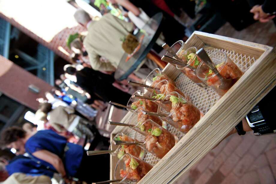 A tray of appetizers awaits diners at the grand opening of Nao at the Pearl Brewery. Photo: Robin Jerstad, For The Express-News