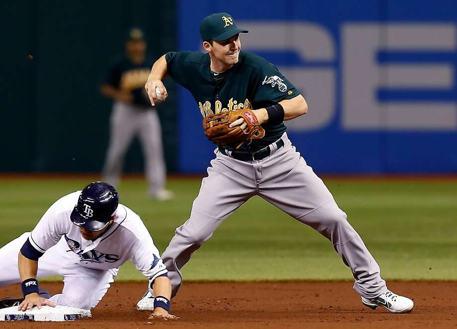 ST PETERSBURG, FL - AUGUST 23:  Infielder Stephen Drew #5 of the Oakland Athletics turns a double play as Ben Zobrist #18 of the Tampa Bay Rays tries to break it up during the game at Tropicana Field on August 23, 2012 in St. Petersburg, Florida.  (Photo by J. Meric/Getty Images) Photo: J. Meric, Getty Images