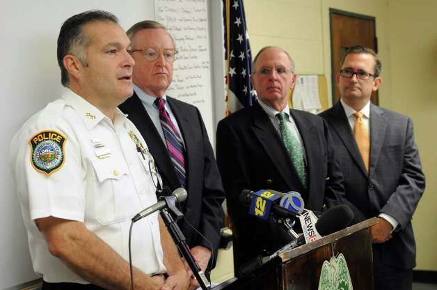 Wilton Police Chief Michael Lombardo speaks during a press conference at the Wilton Police Department to announce the arrest of a minor in the death of Nicholas Parisot, who was killed in 2008 at the age of 13 when he struck a rope strung across a trail while riding a dirt bike. Photo: Lindsay Niegelberg / Stamford Advocate