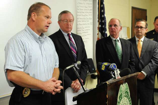 Lt. Donald Wakeman speaks during a press conference at the Wilton Police Department to announce the arrest of a minor in the death of Nicholas Parisot, who was killed in 2008 at the age of 13 when he struck a rope strung across a trail while riding a dirt bike. Photo: Lindsay Niegelberg / Stamford Advocate