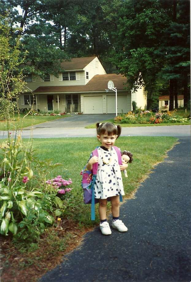 Lynda Shrager?s daughter, Sam, heads out for her first day of school 16 years ago. The family had a tradition of taking pictures marking the first day of every school year, college included. (Lynda Shrager photo)