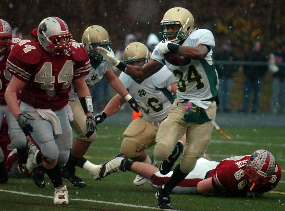 8. ND-West Haven(2-1, 9 points)The Green Knights are coming off their first loss of the season, 42-21 to North Haven. Photo: Ned Gerard / Connecticut Post