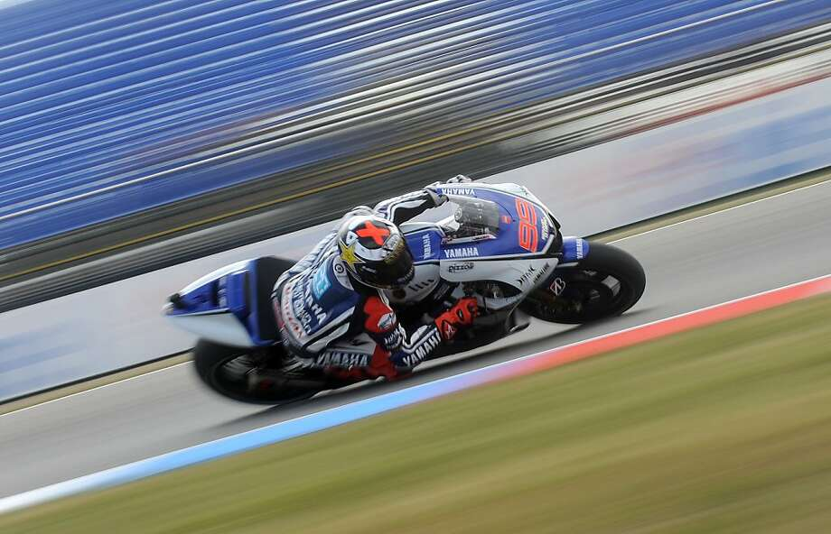 Moto GP rider Jorge Lorenzo of Spain rides his Yamaha during the free practice session at Czech Republic's Grand Prix circuit in Moto GP on August 24, 2012, in Brno ahead of the Grand prix on August 26.  Photo: Michal Cizek, AFP/Getty Images