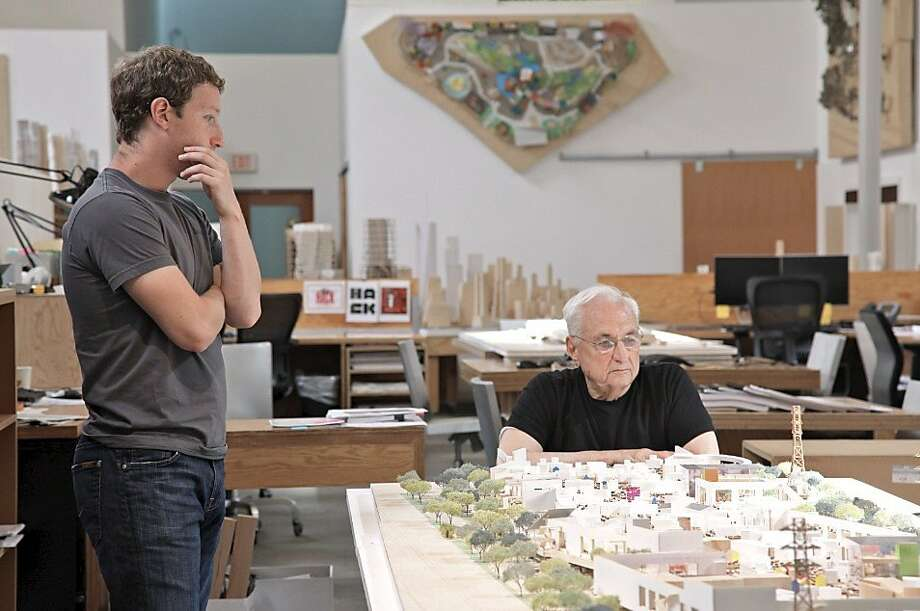 CEO Mark Zuckerberg reviews the Facebook West design with architect Frank Gehry. Photo: Frank Gehry, Gehry Partners