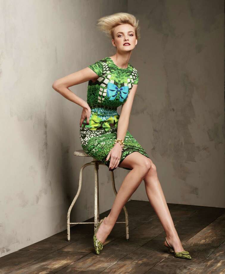 Mixed greens top the Neiman Marcus list of fall trends as shown in this multicolor dress from Mary Katrantzou. / Neiman Marcus