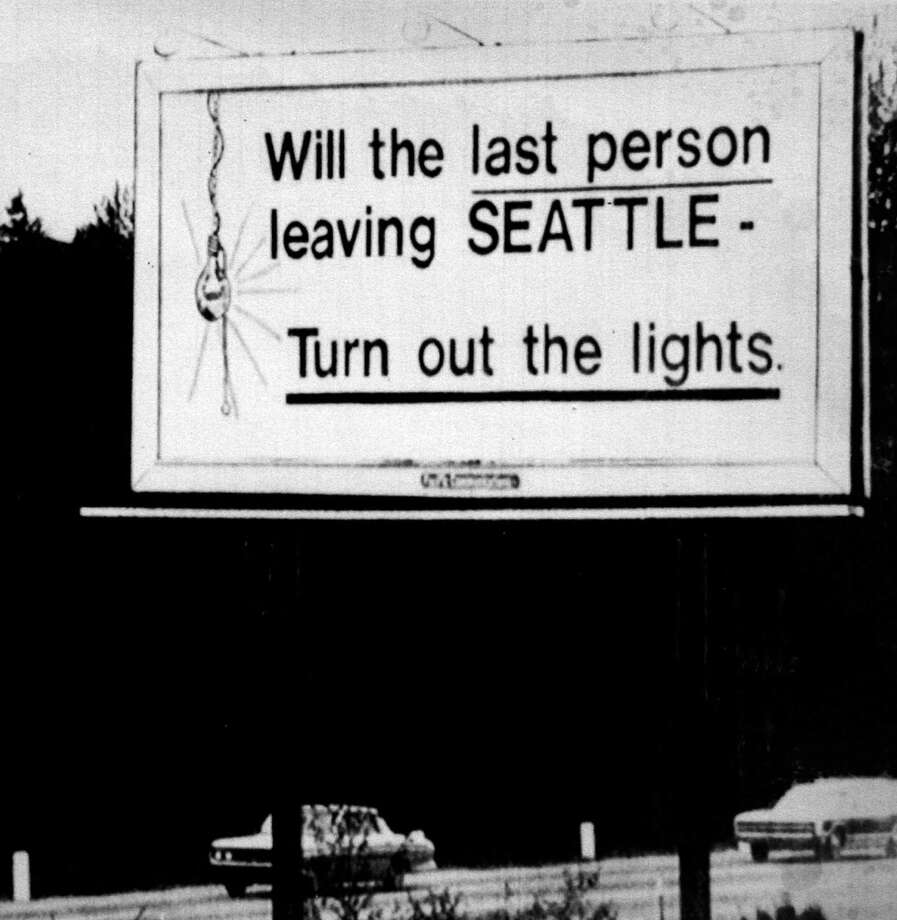 Seattle's famous 1971 billboard summed up the recession's toll and the Boeing bust, which led to devastating unemployment in the region. The billboard was up near Sea-Tac Airport for only 15 days, but has since become a lasting slogan for bad economic news, reported The Seattle Times. Photo: Barry R. Sweet, ©2012 The Associated Press, published with permission. Photo: BARRY SWEET PHOTO / BARRY SWEET PHOTO
