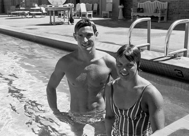 Olympian swimmers Rick and Lynn Colella, of Seattle, pose for a picture in 1971. The siblings were training for the 1972 Olympic Games, where Lynn won silver in the women's 200 meter butterfly. Rick took bronze in breaststroke in the 1976 Olympics. Photo: Barry R. Sweet, ©2012 The Associated Press, published with permission. Photo: BRS / BRS