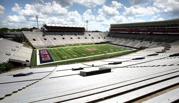 University of Mississippi's Vaught-Hemingway Stadium at Hollingsworth Field where the Ole Miss Rebels play, in Oxford, MS.  The  Texas A&M Aggies, new to the Southeastern Conference, will travel to Auburn, Alabama, Mississippi State and Ole Miss this year.  Monday, July 23, 2012. Photo: BOB OWEN, Express-News / © 2012 San Antonio Express-News