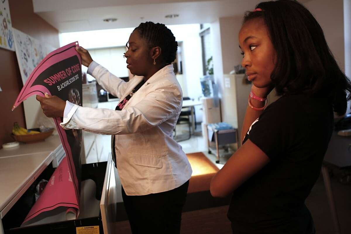 Kimberly Bryant and her daughter Kai Bryant, 13 years old, at ThoughtWorks, one of their sponsors, in San Francisco, Calif., on Thursday, August 23, 2012. Kimberly founded Black Girls Code encouraging girls of color to learn about computer science and technology.